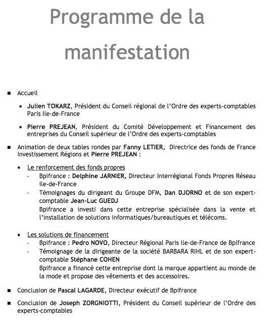 programme de la manifestation